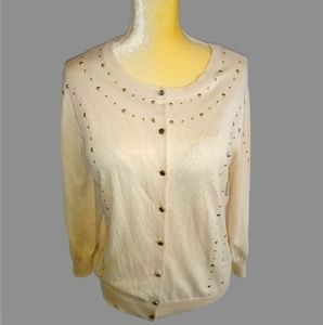 NWT New York & Co. Cream Cardigan w Gold Sequence